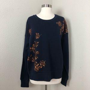 J.Crew Sequined Navy Floral sweatshirt Large